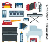 keyboard musical instruments... | Shutterstock .eps vector #730239676