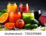 glasses with fresh organic...   Shutterstock . vector #730239880