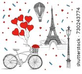 set of hand drawn french icons  ... | Shutterstock . vector #730243774
