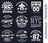 new york  brooklyn typography ... | Shutterstock .eps vector #730245658