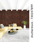 yellow bedroom or livingroom in ... | Shutterstock . vector #730247899