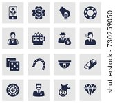 set of 16 gambling icons set... | Shutterstock .eps vector #730259050