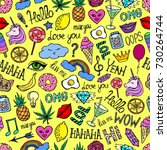 seamless pattern from stickers... | Shutterstock .eps vector #730264744