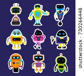 fashion patch badges with robot ... | Shutterstock .eps vector #730266448