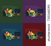 couple watching movies. vector... | Shutterstock .eps vector #730268290