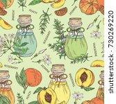 seamless pattern with bottles... | Shutterstock .eps vector #730269220