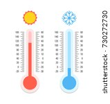 thermometer and snowflake  sun... | Shutterstock .eps vector #730272730