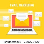 laptop with envelope and read...   Shutterstock .eps vector #730273429