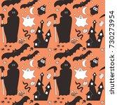 halloween background texture... | Shutterstock .eps vector #730273954