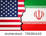 usa and iran conflict concept ...   Shutterstock . vector #730281610