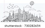 hand drawn city sketch for your ... | Shutterstock .eps vector #730282654