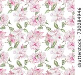 seamless watercolor floral...   Shutterstock . vector #730284946