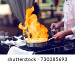 the chef prepares the foie gras ... | Shutterstock . vector #730285693