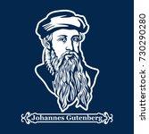 johannes gutenberg. first... | Shutterstock .eps vector #730290280