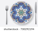 thin gold pattern for plates ... | Shutterstock .eps vector #730292194