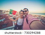 handsome tourists couple take... | Shutterstock . vector #730294288