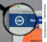Small photo of Milan, Italy - August 10, 2017: Brighton & Hove Albion logo on the website homepage.