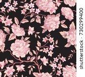 floral pattern. flower seamless ... | Shutterstock .eps vector #730299400