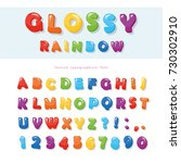 glossy rainbow colored font... | Shutterstock .eps vector #730302910