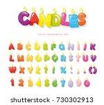 candles font. festive cartoon... | Shutterstock .eps vector #730302913