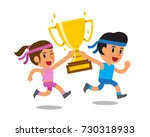 vector cartoon sport man and...   Shutterstock .eps vector #730318933