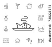 fish on plate icon on the white ... | Shutterstock .eps vector #730325878