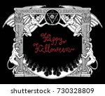 halloween gothic frame with... | Shutterstock .eps vector #730328809