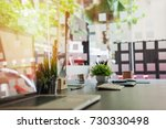 stylish workspace with desktop... | Shutterstock . vector #730330498