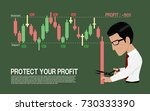 investor  is stopping loss with ... | Shutterstock .eps vector #730333390