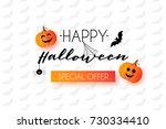 happy halloween greeting card... | Shutterstock .eps vector #730334410