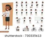 set of businesswoman character... | Shutterstock .eps vector #730335613
