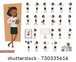 set of businesswoman character... | Shutterstock .eps vector #730335616