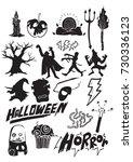 set of halloween doodle art ... | Shutterstock .eps vector #730336123