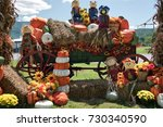 A Wagon Decorated For Fall And...