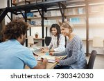 collaborative work. group of...   Shutterstock . vector #730342030