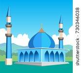 blue mosque icon vector drawn   Shutterstock .eps vector #730346038