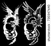 skull and dragon illustration  | Shutterstock .eps vector #730347640