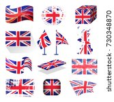 waving uk flag england british... | Shutterstock .eps vector #730348870