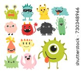 funny cartoon monster cute... | Shutterstock .eps vector #730348966