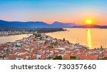 sunset on poros island in... | Shutterstock . vector #730357660