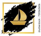 sail boat sign. vector. golden... | Shutterstock .eps vector #730363606