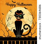 vintage style halloween card... | Shutterstock .eps vector #730364686