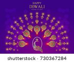 happy diwali festival card with ... | Shutterstock .eps vector #730367284