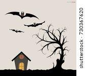 abstract tree in dark night.... | Shutterstock .eps vector #730367620