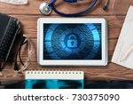 doctors workplace with white...   Shutterstock . vector #730375090