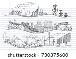 vector hand drawn on lined... | Shutterstock .eps vector #730375600