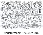 business doodles on lined... | Shutterstock .eps vector #730375606