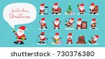 santa clauses set for... | Shutterstock .eps vector #730376380
