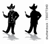 isolated silhouette of clown ...   Shutterstock .eps vector #730377340