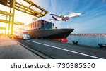 plane trucks are flying towards ... | Shutterstock . vector #730385350
